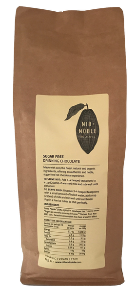 Nib and Noble Drinking Chocolate Sugar Free Organic Drinking Chocolate