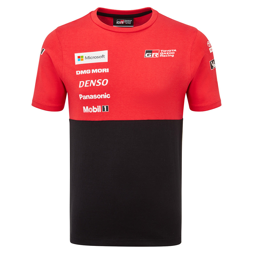 Toyota Gazoo Racing red and black t-shirt with sponsor logos to left chest