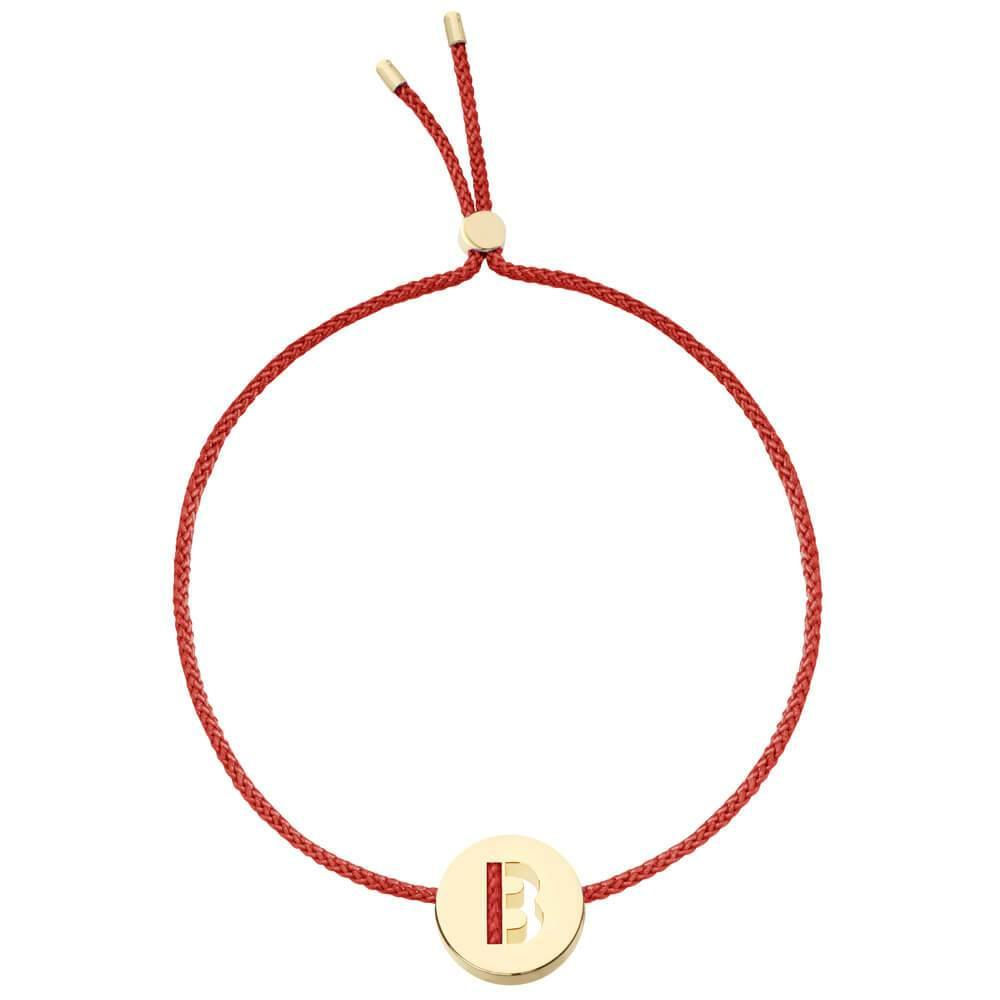 Ruifier ABC's B Cord Bracelet Burnt Umber Yellow Gold