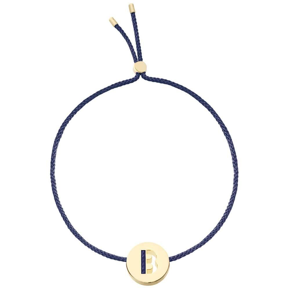 Ruifier ABC's B Cord Bracelet Navy Yellow Gold