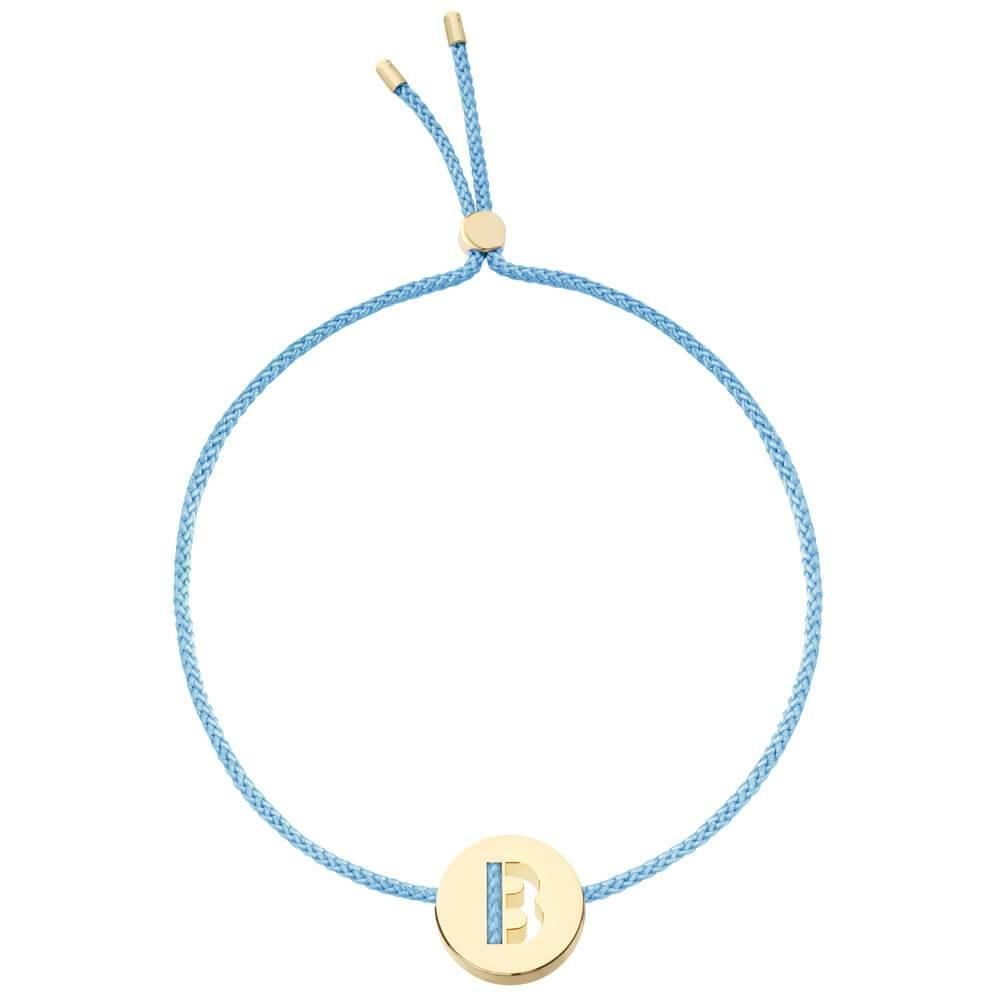 Ruifier ABC's B Cord Bracelet Sky Blue Yellow Gold