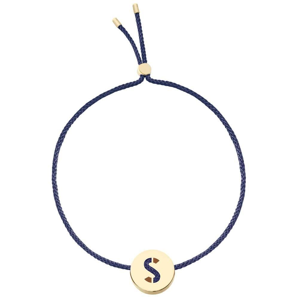 Ruifier ABC's S Cord Bracelet Navy Yellow Gold