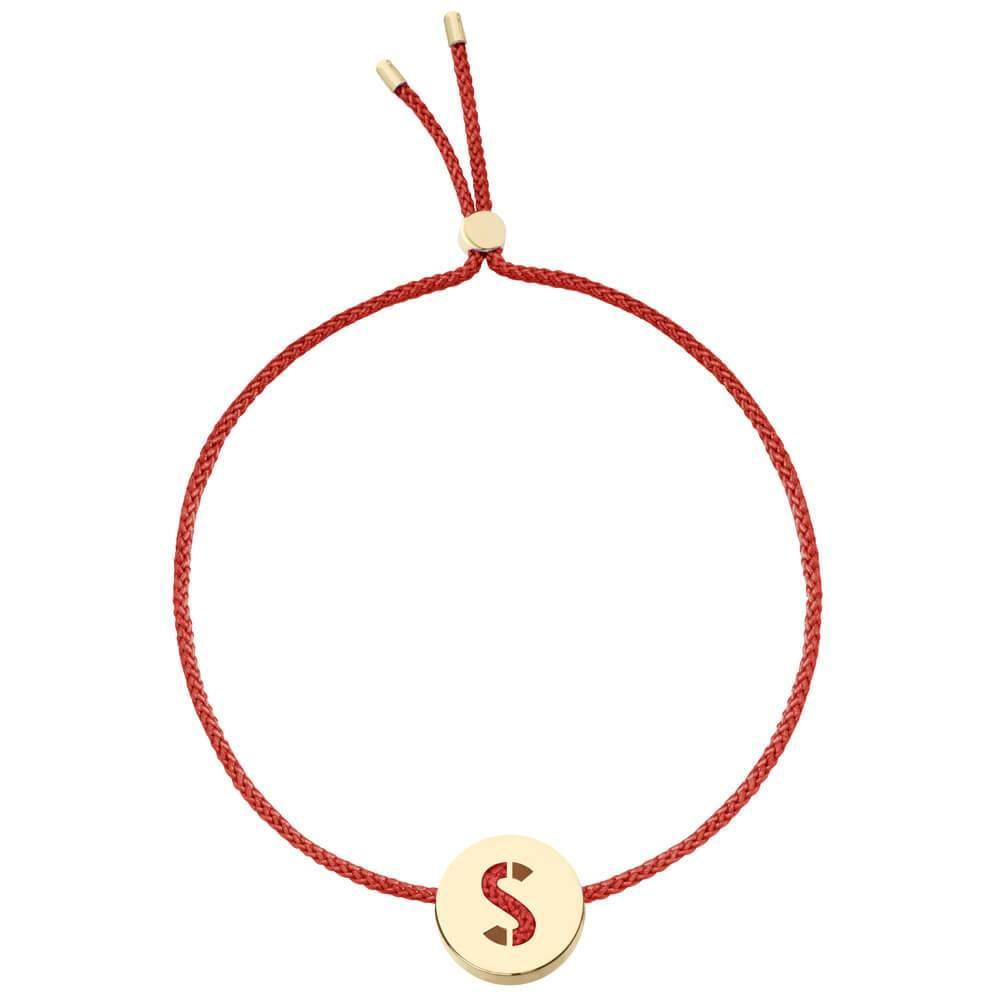 Ruifier ABC's S Cord Bracelet Burnt Umber Yellow Gold