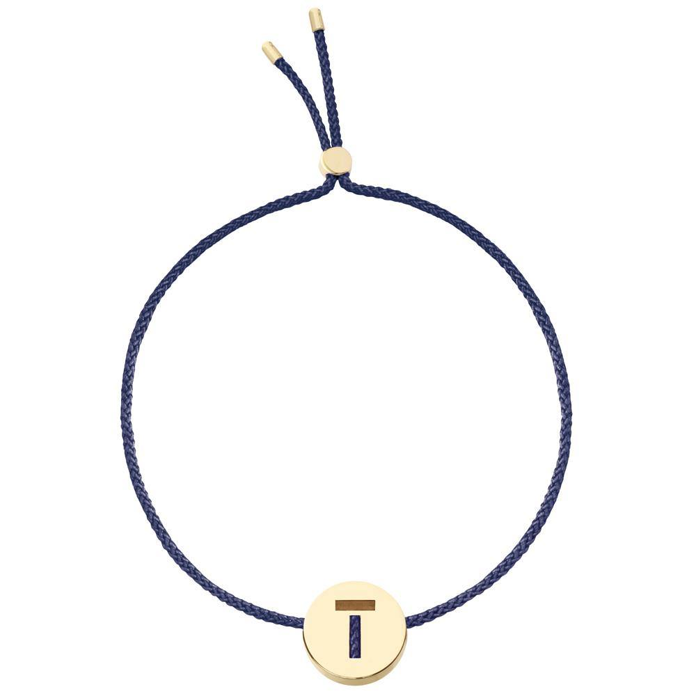 Ruifier ABC's T Cord Bracelet Navy Yellow Gold