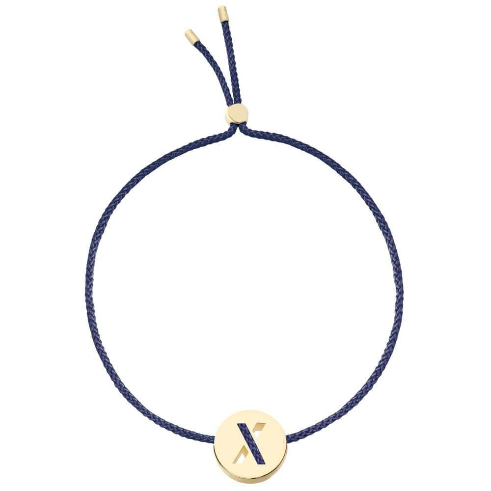 Ruifier ABC's X Cord Bracelet Navy Yellow Gold