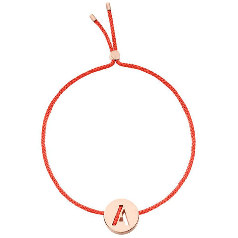 Ruifier ABC's A Cord Bracelet Red Rose Gold
