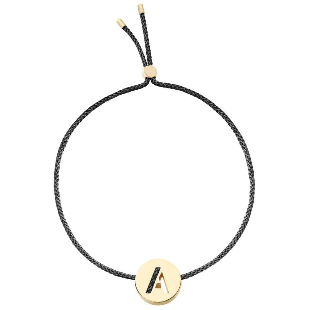 Ruifier ABC's A Cord Bracelet Black Yellow Gold