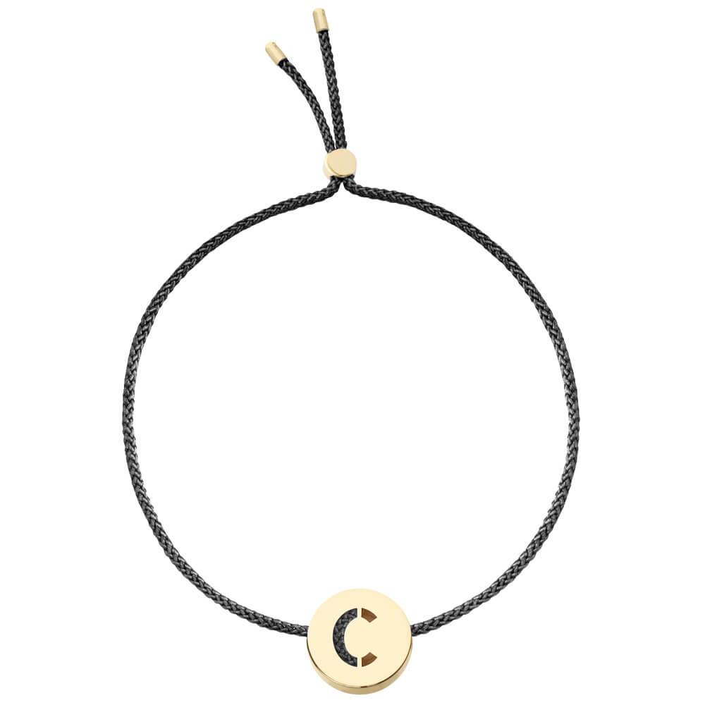 Ruifier ABC's C Cord Bracelet Black Yellow Gold