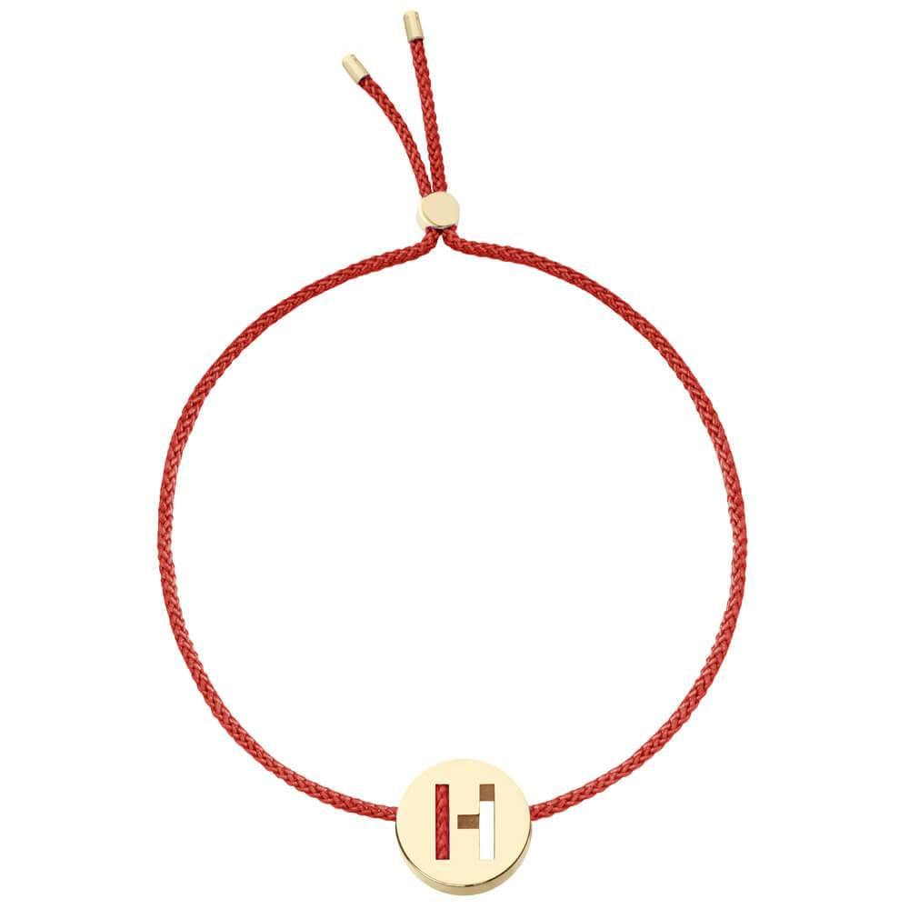 Ruifier ABC's H Cord Bracelet Burnt Umber Yellow Gold