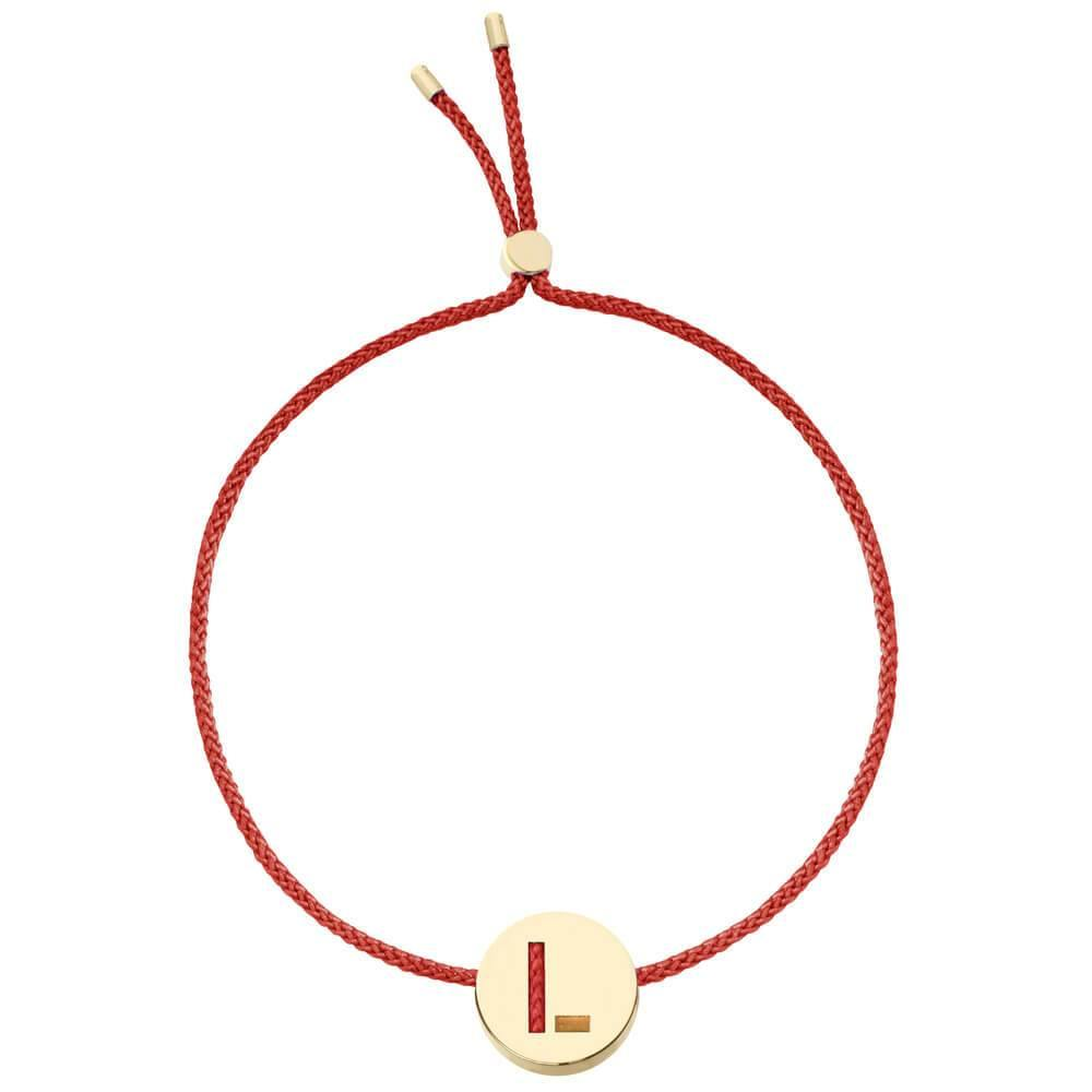 Ruifier ABC's L Cord Bracelet Burnt Umber Yellow Gold