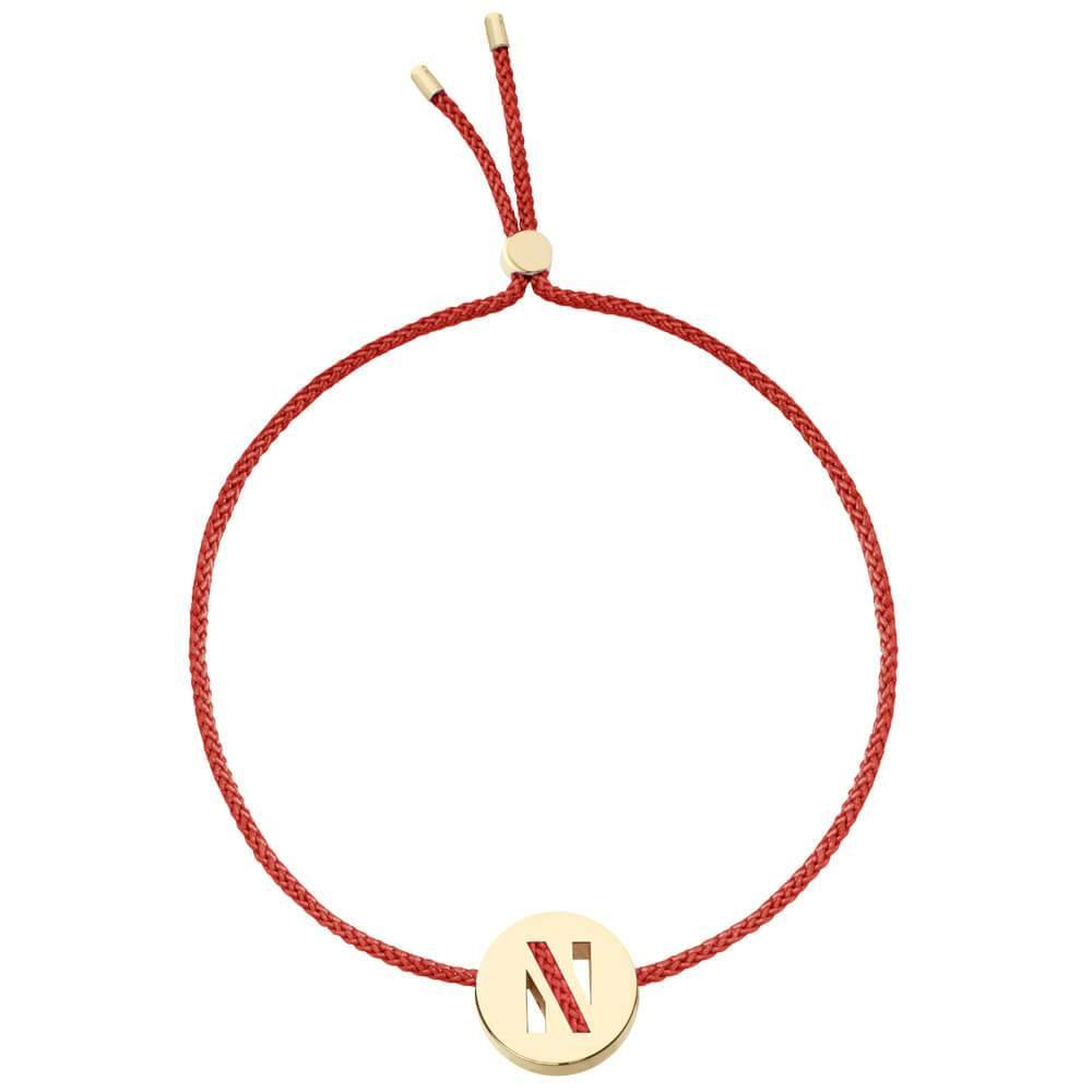 Ruifier ABC's N Cord Bracelet Burnt Umber Yellow Gold