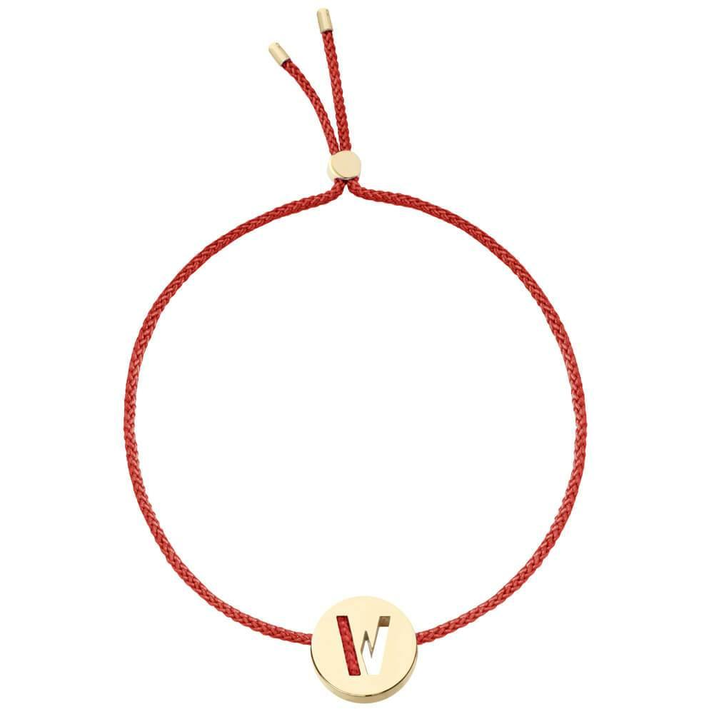Ruifier ABC's W Cord Bracelet Burnt Umber Yellow Gold