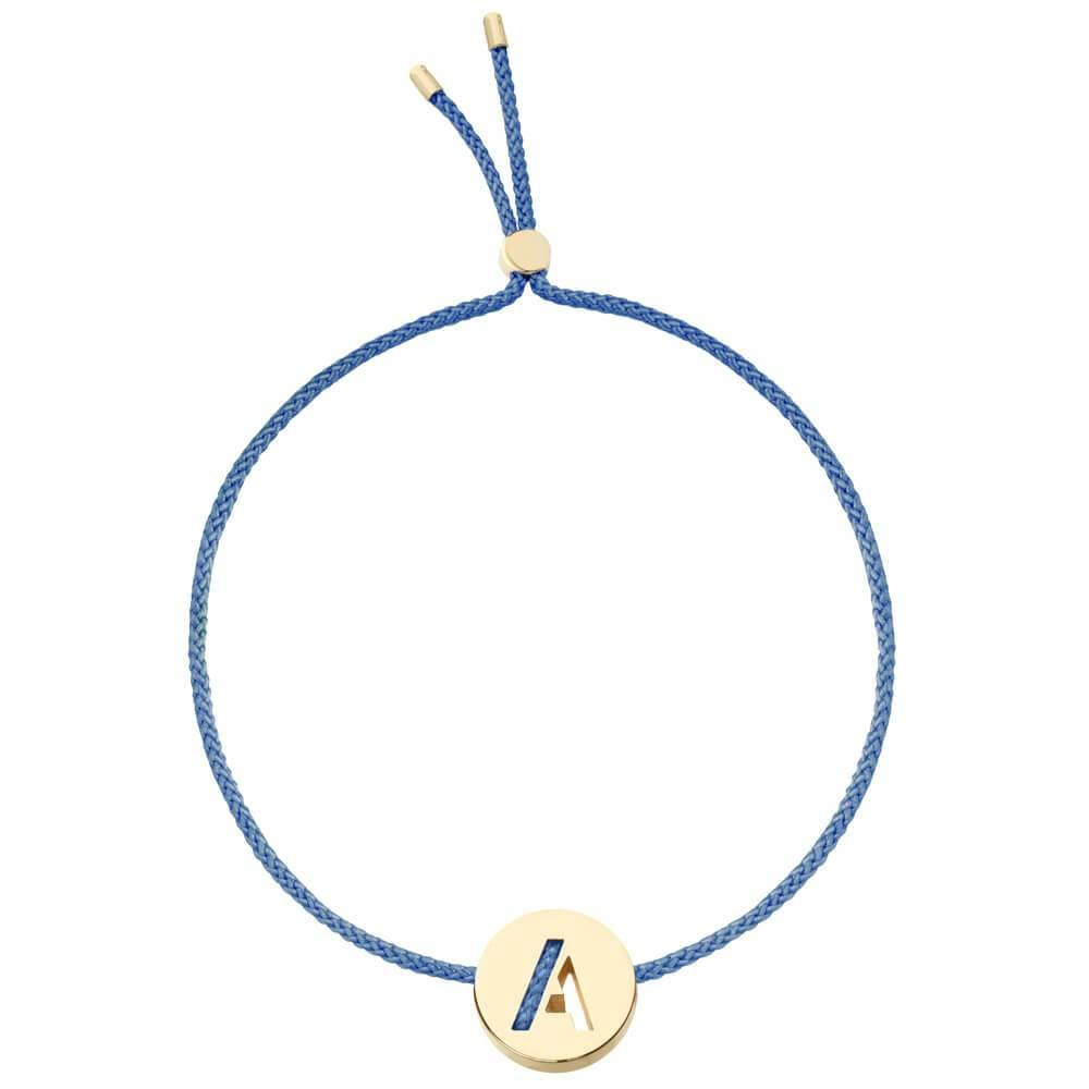 Ruifier ABC's A Cord Bracelet Dusky Blue Yellow Gold