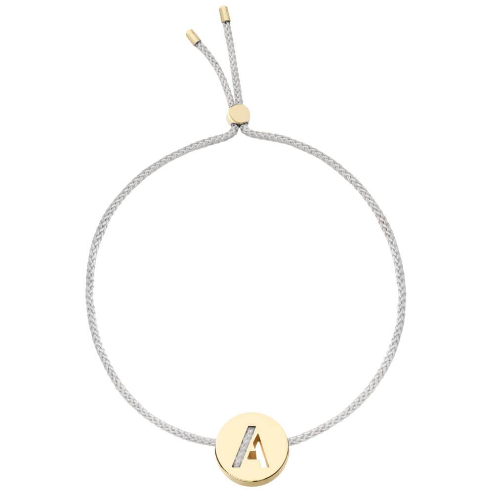 Ruifier ABC's A Cord Bracelet Light Grey Yellow Gold