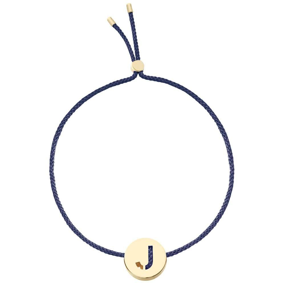 Ruifier ABC's J Cord Bracelet Navy Yellow Gold