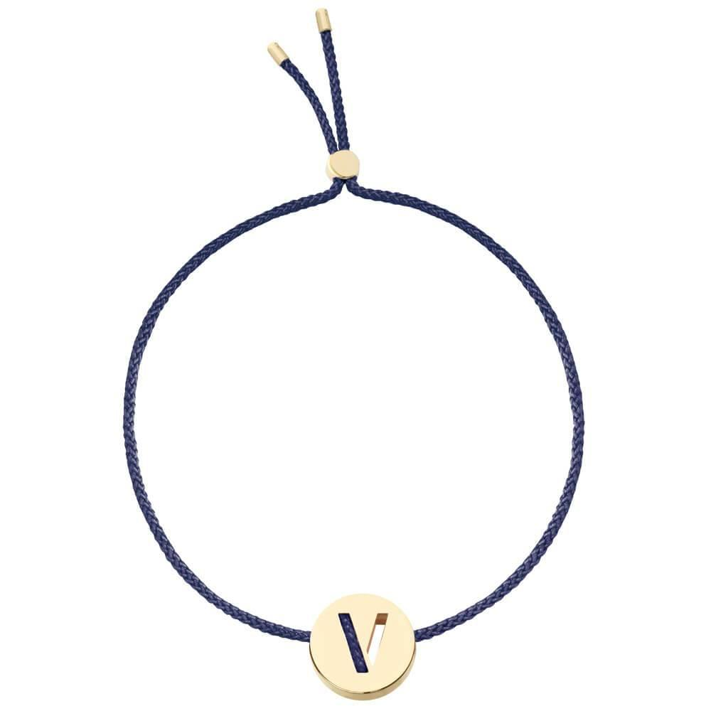 Ruifier ABC's V Cord Bracelet Navy Yellow Gold