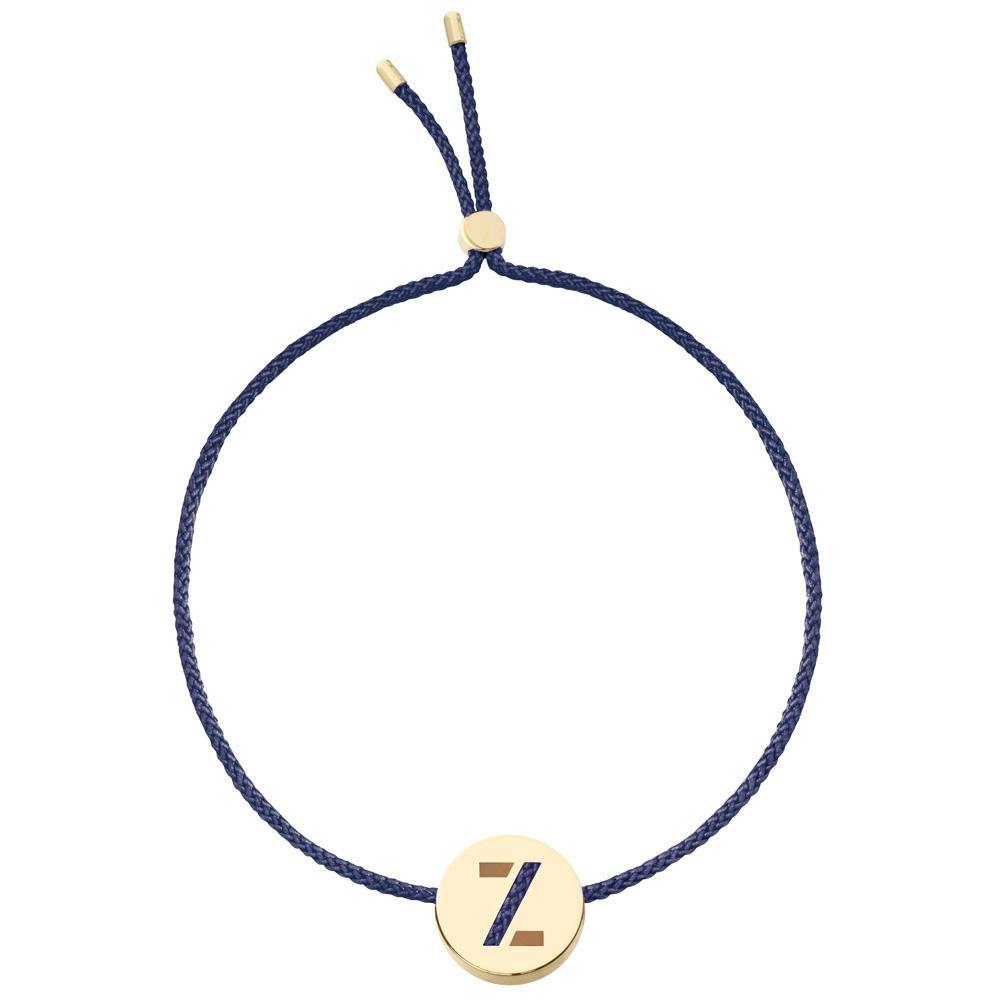Ruifier ABC's Z Cord Bracelet Navy Yellow Gold