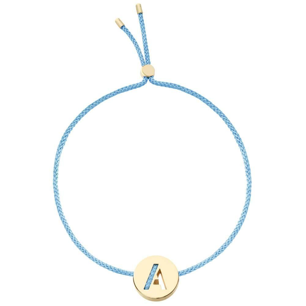 Ruifier ABC's A Cord Bracelet Sky Blue Yellow Gold