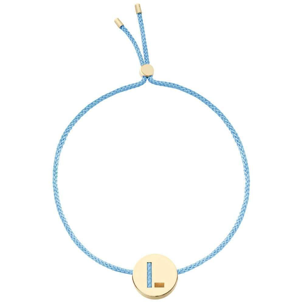 Ruifier ABC's L Cord Bracelet Light Blue Yellow Gold