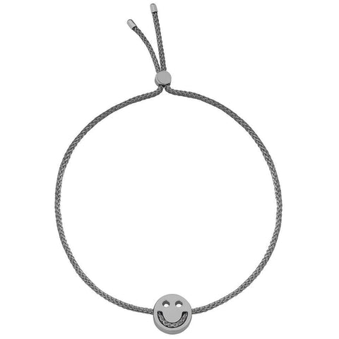 Ruifier Friends Happy Cord Bracelet Dark Grey Black Rhodium