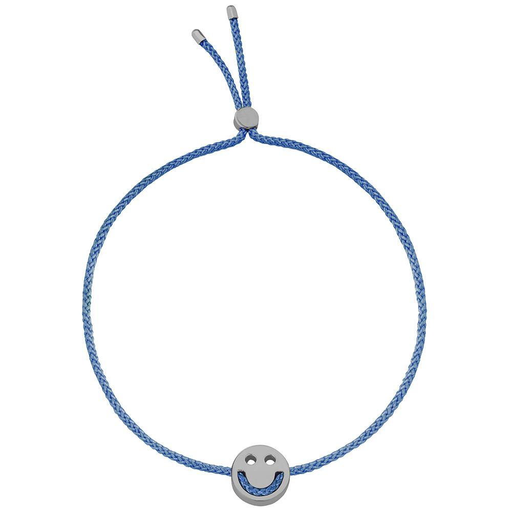 Ruifier Friends Happy Cord Bracelet Dusky Blue Black Rhodium
