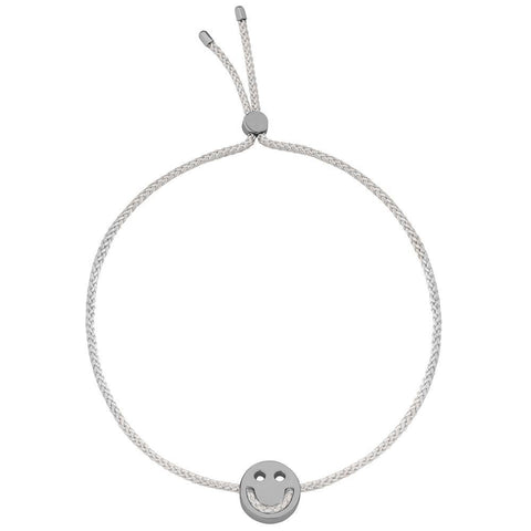 Ruifier Friends Happy Cord Bracelet Light Grey Black Rhodium