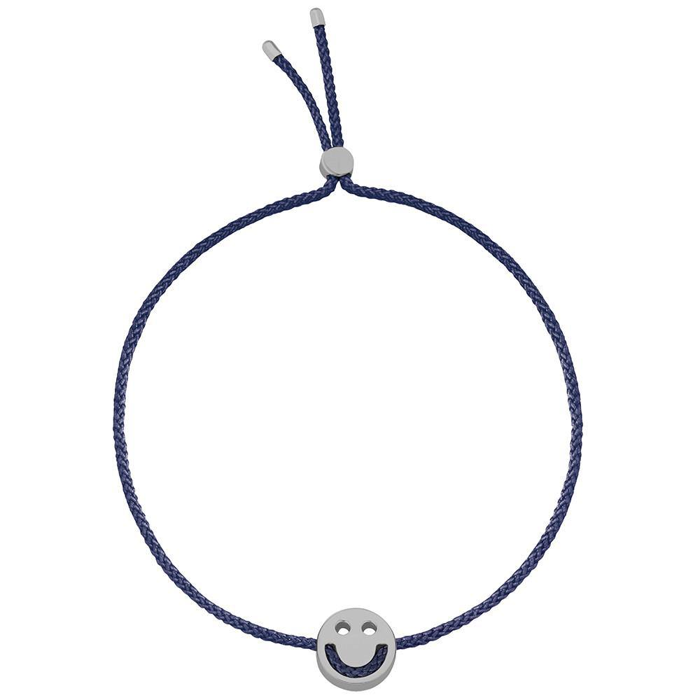 Ruifier Friends Happy Cord Bracelet Navy Black Rhodium