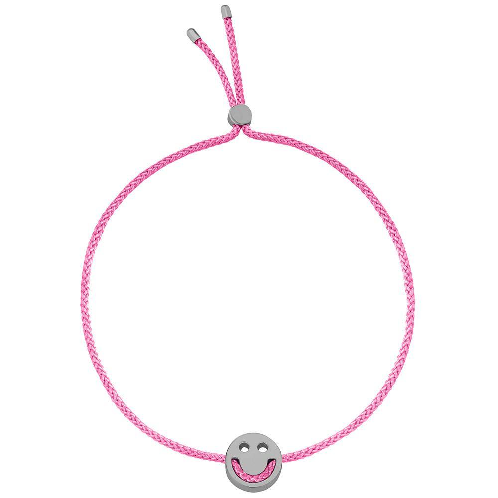 Ruifier Friends Happy Cord Bracelet Pink Black Rhodium