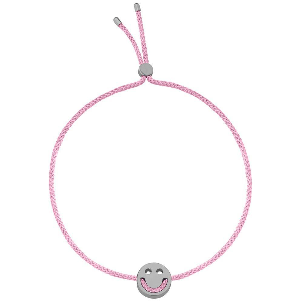 Ruifier Friends Happy Cord Bracelet Rose Pink Black Rhodium