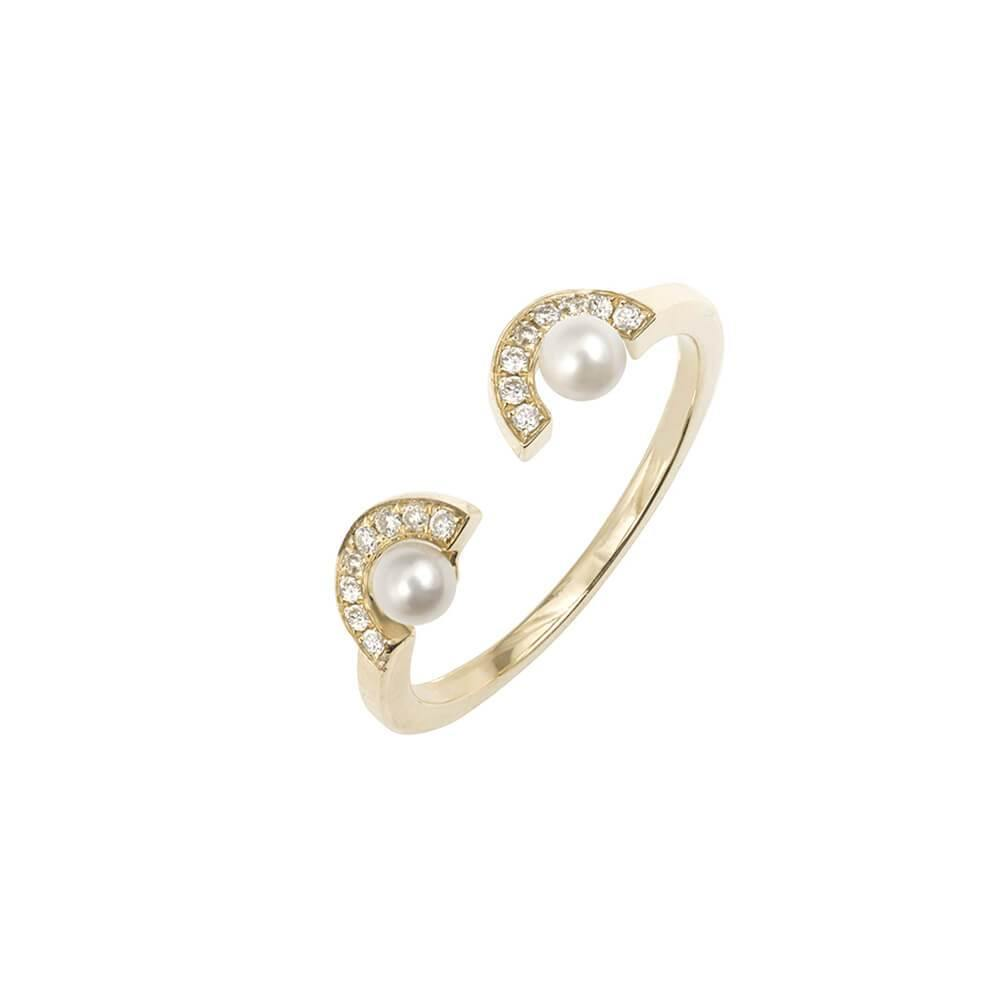 ELEMENTS Gold Pearl Eyes Ring
