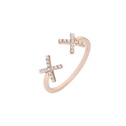 ELEMENTS Rose Cross Ring
