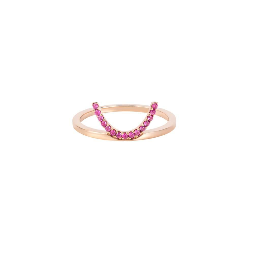 ELEMENTS Pink Crescent Ring