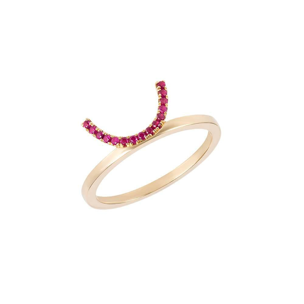 ELEMENTS Ruby Crescent Ring