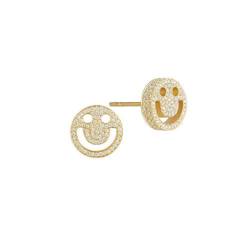 FRIENDS Happy Diamond Yellow Gold Studs - RUIFIER