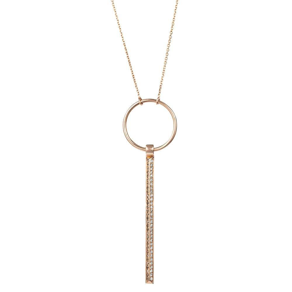 RUIFIER ICON FINE 18ct Rose Gold Diamond Drop Necklace