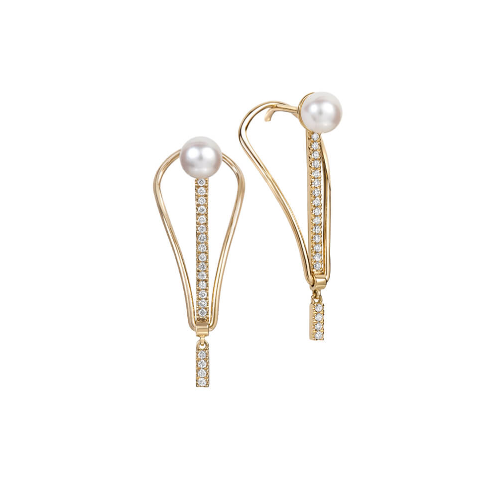 RUIFIER ICON FINE Spire 18ct Rose Gold Diamond Pearl Earrings