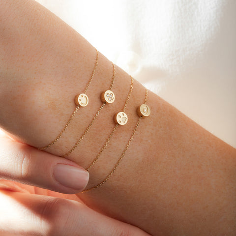 Modern Words Fine Diamond Happy Bracelet