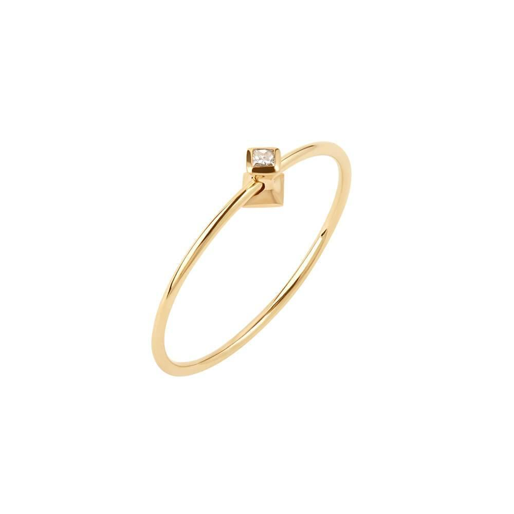 Ruifier Orbit Fine Cube 14ct Yellow Gold Vermeil Diamond Ring