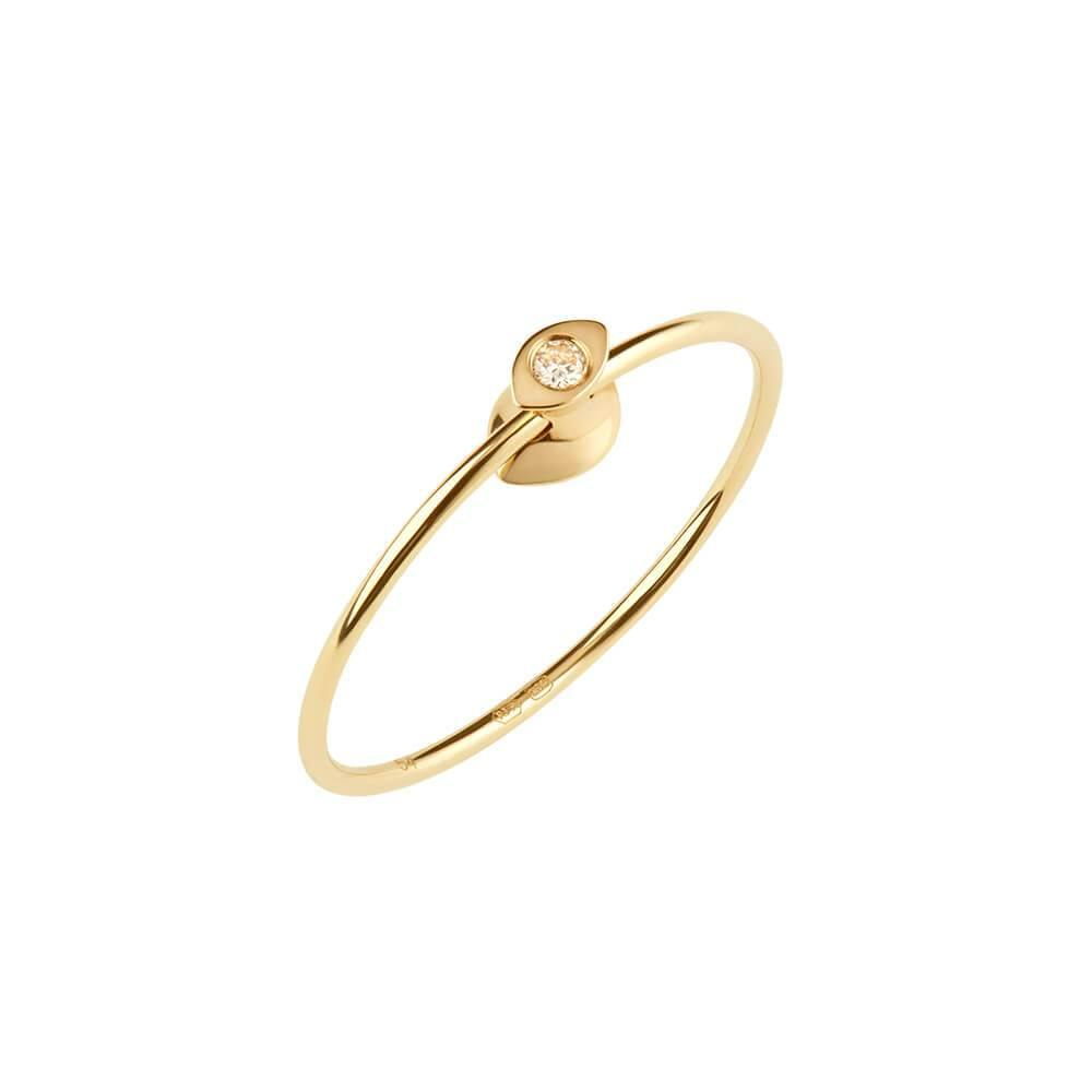 Ruifier Orbit Fine Iris 14ct Yellow Gold Vermeil Diamond Ring