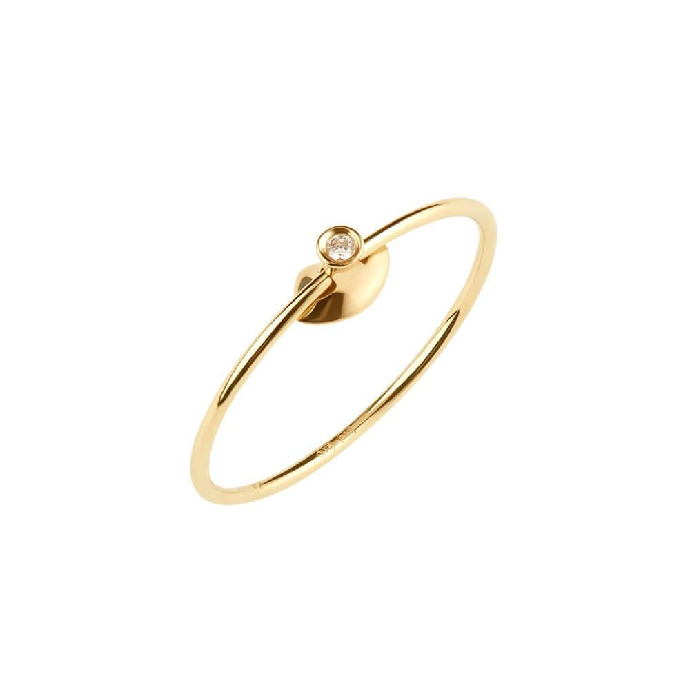 Ruifier Orbit Fine Lips 14ct Yellow Gold Vermeil Diamond Ring