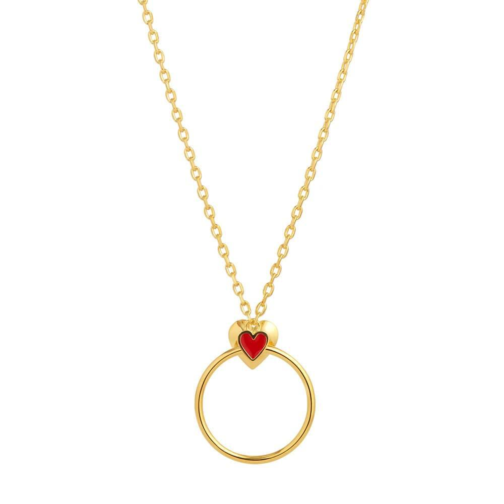 HOME1 Ruifier Orbit Infinity Heart 18ct Yellow Gold Vermeil Pendant
