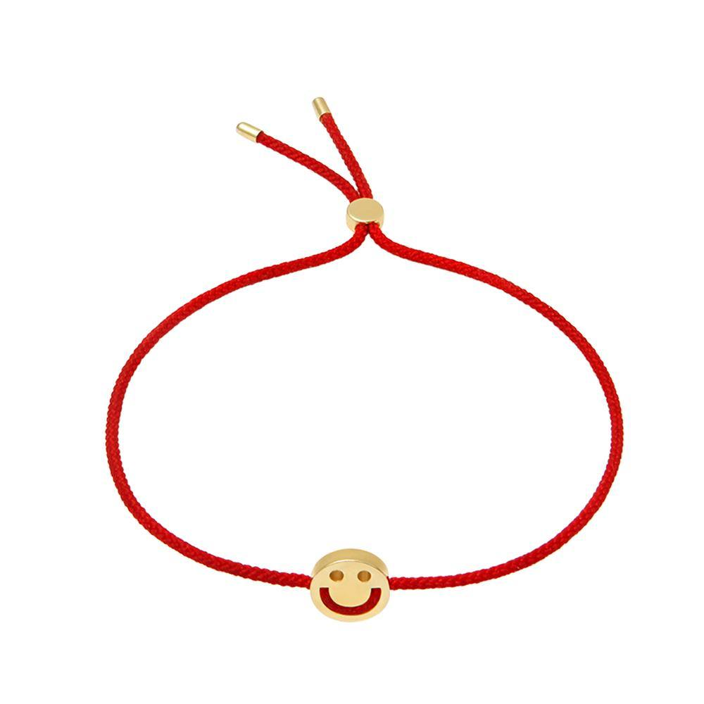 1HOME1 FRIENDS Happy Bracelet 18ct Yellow Gold Red - RUIFIER
