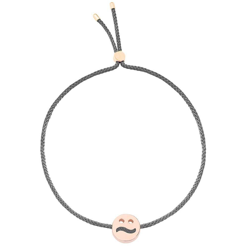 Ruifier Friends Ditzy Cord Bracelet Dark Grey Rose Gold