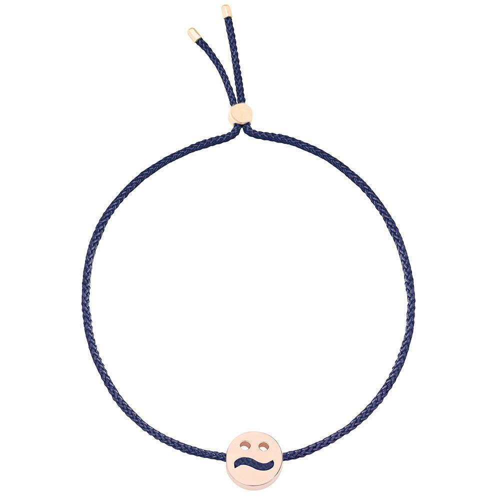 Ruifier Friends Ditzy Cord Bracelet Navy Rose Gold