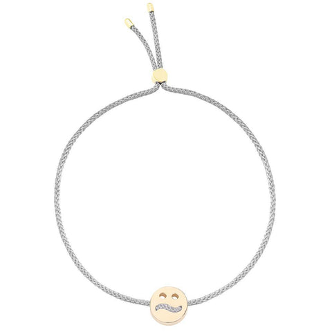 Ruifier Friends Ditzy Cord Bracelet Light Grey Yellow Gold