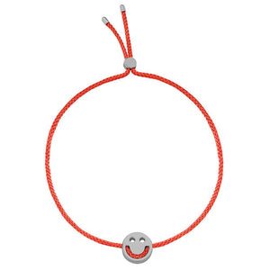 Ruifier Friends Happy Cord Bracelet Red Black Rhodium