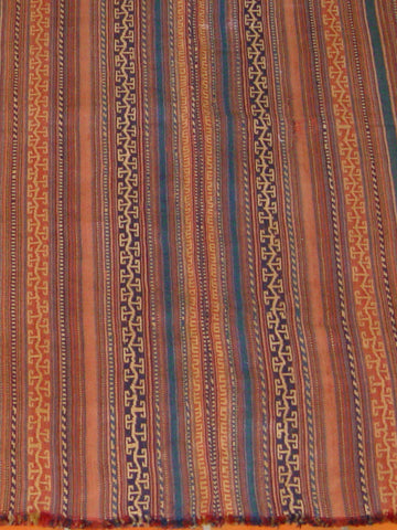 A very fine Kurdish Jajim the wool is beautifully spun to a fine yarn. the colours used are orange, terracotta and Teal.