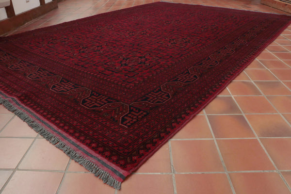 This hand knotted rug has been made in northern Afghanistan.