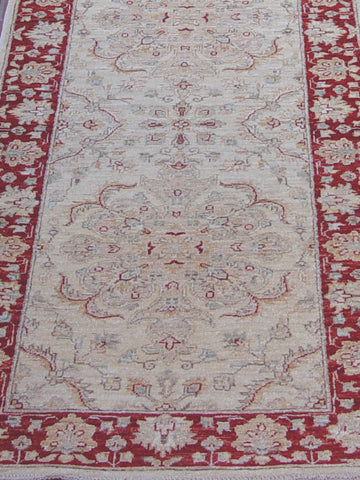 Afghan Chobi runner with a cream and red colouring
