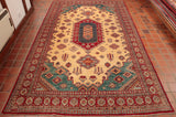 Hand knotted fine Afghan Kazak rug with geometric pattern and central medallion.